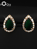 Party Accessories Cubic Zirconia Earrings Fashion Jewelry Gold Plated Lady Stud Earrings For Women