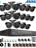 ANNKE® 16CH DVR eCloud HDMI 1080P/VGA/BNC Output 16pcs 900TVL CMOS 42LEDS Day/Night IR-cut Cameras IP66