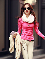 Women's Solid Blue/Pink/White/Black/Yellow T-shirt , Round Neck Long Sleeve
