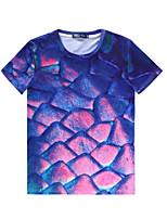 European Style TEE Digital Printing 3D T-shirt Wrinkled Colorful Mermaid Harajuku Sleeved T-shirt