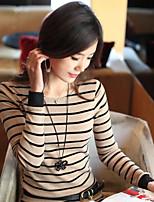 Women's Striped White/Gray T-shirt , Round Neck Long Sleeve
