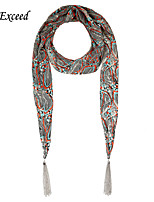 D Exceed Retro Printing Scarf Multiuse Chiffon Scarves Jewelry with Silver Tassles for Women
