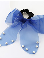 Women Candy Color Lace Fabric Hair Tie