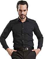 100% Cotton White Men Shirts Black Polka Dot Contrast Button Long sleeve (6105)