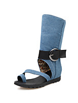 Women's Shoes Denim Flat Heel Toe Ring/Slouch Boots Office & Career/Dress/Casual Black/Blue/Navy