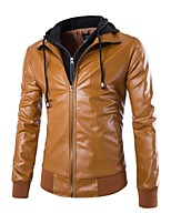 Men's Long Sleeve Jacket , Polyester/PU Casual Pure