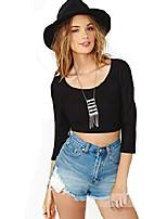 Women's Round Neck Criss-Cross Backless T-shirt , Cotton ¾ Sleeve