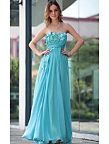 Formal Evening Dress - Sky Blue Sheath/Column Sweetheart Floor-length Chiffon
