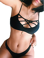 Women's Halter Bikinis , Solid Wireless Polyester Black