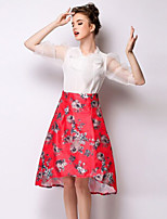 Women's Casual Micro-elastic Translucent Knee-length Skirts (Chiffon)