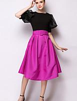 Women's Casual Micro-elastic Above Knee Skirts (Chiffon)dress with belt
