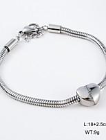 Wedding Heart Shape Slivery Stainless Steel Bracelet