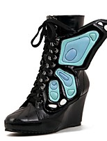 Women's Shoes Wedge Heel Closed Toe Boots Casual Black