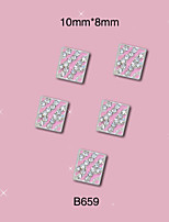 B659 10mm*8mm 10pcs/Lot 3D Square Design Metal Rhinestones Nail Art Decoration Alloy Nail Accessory Silver Pink