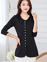 Women's Casual Plus Sizes Micro-elastic Medium Long Sleeve Cardigan (Cotton)