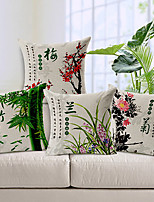 Set of 4 Traditional Chinese Flowers Cotton/Linen Decorative Pillow Covers