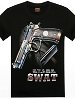Men's 3D O-Neck Short-Sleeve Pistol Printing T-Shirt (Cotton)