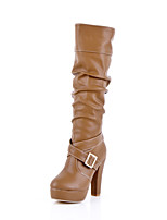 Women's Shoes Chunky Heel Platform/Fashion Boots Boots Office & Career/Dress/Casual Black/Brown/Beige