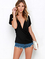 Women's Sexy Casual Cute Plus Sizes Inelastic Short Sleeve Regular T-shirt (Polyester)