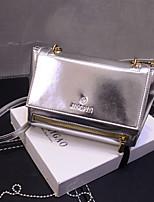 Women 's Patent Leather Baguette Shoulder Bag - Gold/Silver/Black