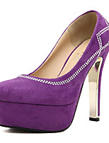 Women's Shoes Fleece Stiletto Heel Heels/Round Toe/Closed Toe Pumps/Heels Casual Black/Purple