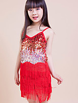 Latin Dance Dresses Children's Performance/Training Polyester Sequins/Tassel(s) 1 Piece Red