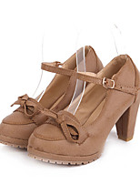 Women's Shoes Stiletto Heel Round Toe/Closed Toe Pumps/Heels Outdoor/Dress/Casual Brown/Tan