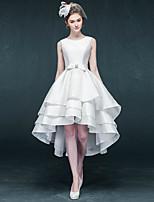 Vestido de Boda - Marfil Corte en A Asimétrica - Joya Satén