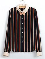 Women's Vintage/Casual/Party/Work Micro-elastic Long Sleeve Regular Shirt (Chiffon)