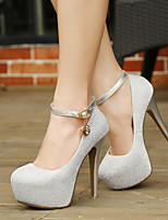 Delicate Pure Color Sparkling Glitter Buckle Women's Wedding Stiletto Heel Platform Pumps/Heels Shoes