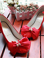 Women's Shoes Leather Low Heel Heels/Pointed Toe Pumps/Heels Wedding/Party & Evening Red