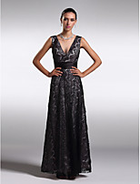 Homecoming Formal Evening Dress - Black Sheath/Column V-neck Ankle-length Lace