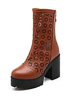 Chaussures Femme Similicuir Gros Talon A Plateau/Bout Arrondi/Bottes à la Mode Bottes Habillé Noir/Bleu/Marron/Bordeaux
