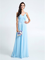 Floor-length Chiffon / Lace Bridesmaid Dress - Sky Blue Plus Sizes / Petite Sheath/Column Spaghetti Straps