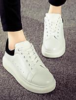 Zapatos de mujer - Tacón Plano - Comfort / Innovador / Punta Redonda - Sneakers a la Moda - Exterior / Casual - Tela - Negro / Blanco