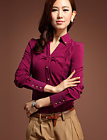 Women's Solid Red Shirt , Stand Long Sleeve