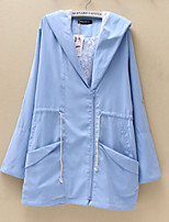 Women's Solid Blue Trench Coat , Vintage Long Sleeve Cotton Rivet/Hollow Out/Mesh