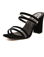 Women's Shoes Rubber Chunky Heel Styles Slippers Casual Black/White