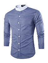 Men's Long Sleeve Shirt , Polyester Casual/Work Plaids & Checks
