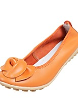 Women's Shoes Leather Flat Heel Comfort/Round Toe Loafers Outdoor/Office & Career/Casual Black/Yellow/Orange