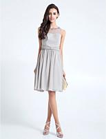 Knee-length Chiffon Bridesmaid Dress - Silver A-line Scoop