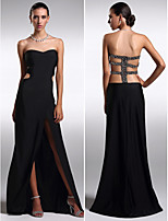 Formal Evening Dress - Black Sheath/Column Strapless Floor-length Knit