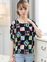 Women's Vintage Sexy Casual Print  Cute Party Work Micro Elastic Short Sleeve Regular T-shirt (Cotton)