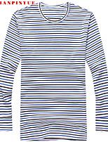 Herren Freizeit/Büro/Sport T-Shirt  -  Gestreift/Einfarbig Lang Baumwolle