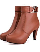 Women's Shoes  Stiletto Heel Bootie/Round Toe Boots Outdoor/Casual Black/Brown/Red