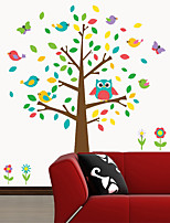 Wall Stickers Wall Decals, Colorful Owls Tree PVC Wall Sticker