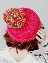 Women Candy color Wool Ball Pointed Hat Knitting Cap