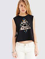Women's Sexy Casual Print Cute Plus Sizes Micro Elastic Sleeveless Short T-shirt (Microfiber)