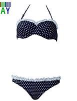 ZAY Women's Sexy Sweet Dot Ruffle Push-up  Halter Bikinis
