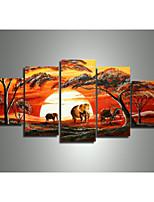 moderno africano pittura a olio di paesaggio astratto elefante giraffa tramonto dipinto a mano sulla tela di canapa 5pcs / set senza